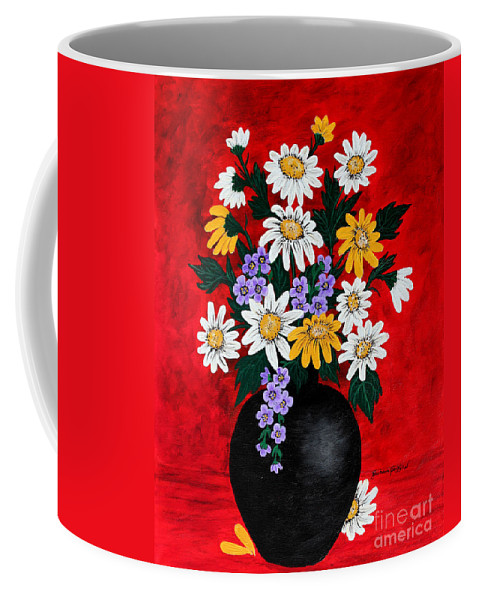 Barbara Griffin Coffee Mug featuring the painting Black Vase With Daisies by Barbara Griffin