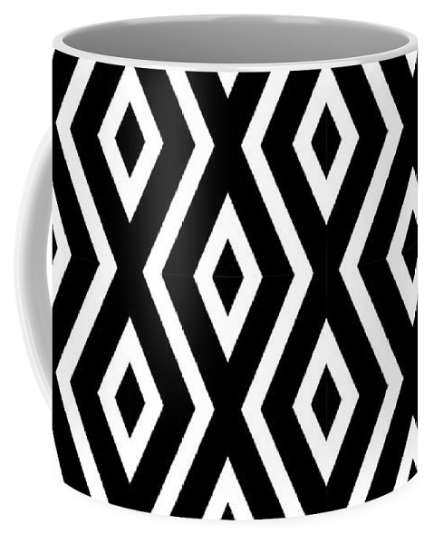Black And White Coffee Mug featuring the mixed media Black and White Pattern by Christina Rollo