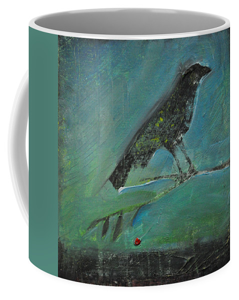 Bird Coffee Mug featuring the painting Blackbird Redberry by Tim Nyberg