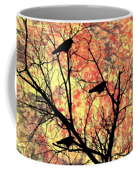 Blackbirds In A Tree Coffee Mug featuring the photograph Blackbirds In A Tree by Bill Cannon