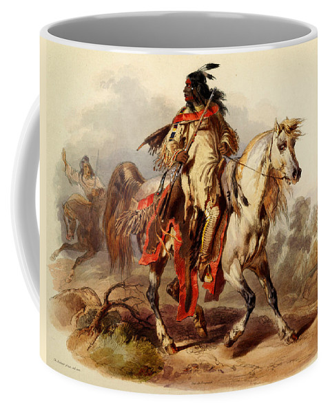 Bodmer Coffee Mug featuring the painting Blackfoot Indian by Celestial Images