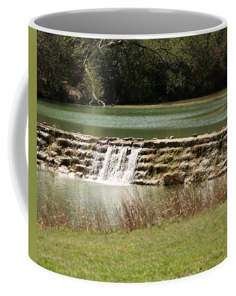 River Coffee Mug featuring the photograph Blanco River Weir by Terry Fleckney