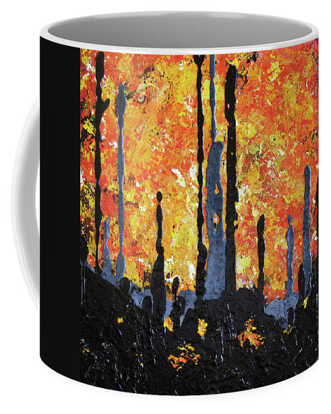 Painting Coffee Mug featuring the painting Blaze by Elaine Booth-Kallweit