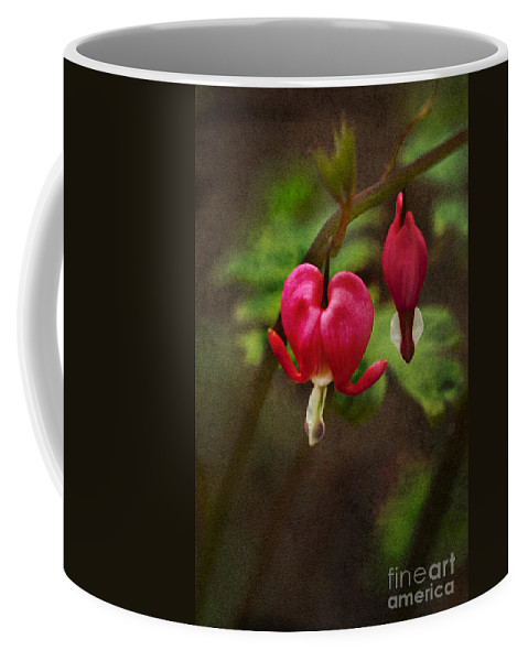 Flower; Bleeding Heart; Beautiful; Bloom; Nature; Dicentra; Floral; Garden; Green; Red; Outdoors; Outside; Perennial; Hanging Coffee Mug featuring the photograph Bleeding Heart by Margie Hurwich