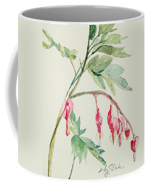 Watercolor Coffee Mug featuring the painting Bleeding Hearts IIi by Mary Benke