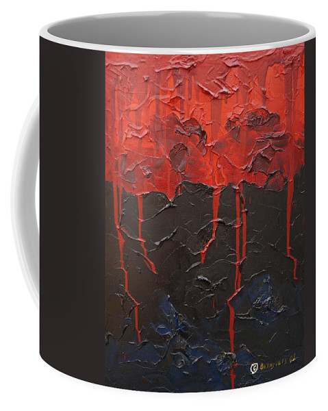 Fantasy Coffee Mug featuring the painting Bleeding sky by Sergey Bezhinets
