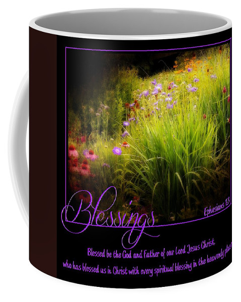 Blessings God Father Lord Jesus Christ Spiritual Heaven Scripture Faith Christian Flowers Purple Coffee Mug featuring the photograph Blessings by Elizabeth Mix