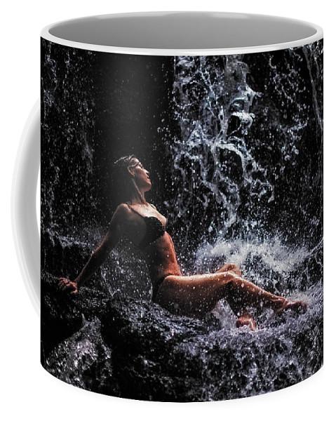 Mauritius Coffee Mug featuring the photograph Bliss. Anna At Eureka Waterfalls. Mauritius by Jenny Rainbow