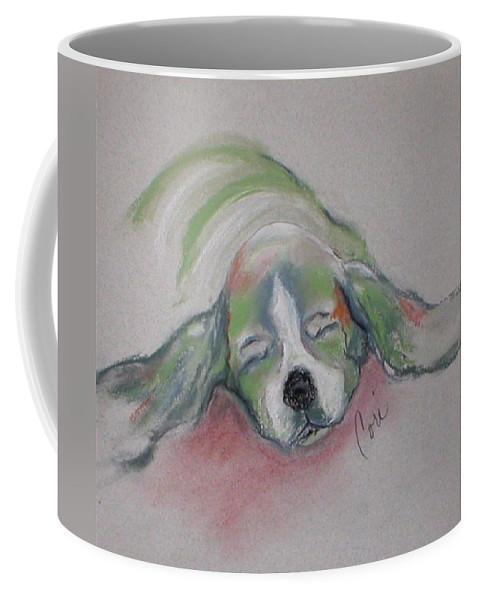 Basset Hound Coffee Mug featuring the drawing Blissful Dreams IIi by Cori Solomon