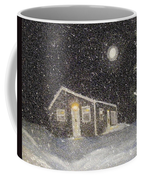 Barbara Griffin Coffee Mug featuring the painting Blizzard At The Cabin by Barbara Griffin