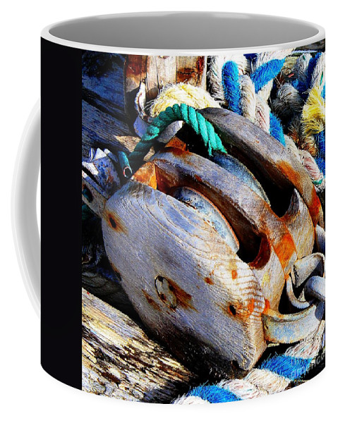 Block Coffee Mug featuring the photograph Block And Tackle - Square - Ropes by Barbara Griffin