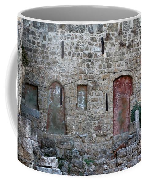 The Island Of Rhodes Coffee Mug featuring the photograph Blood Red Door by Lorraine Devon Wilke