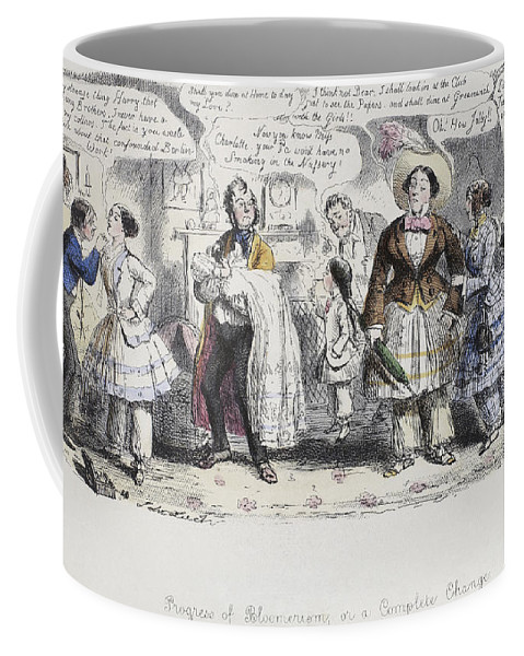 1851 Coffee Mug featuring the painting Bloomer Cartoon, C1851 by Granger