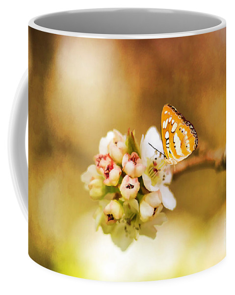 Arrangement Coffee Mug featuring the photograph Blooms And Butterflies by Darren Fisher