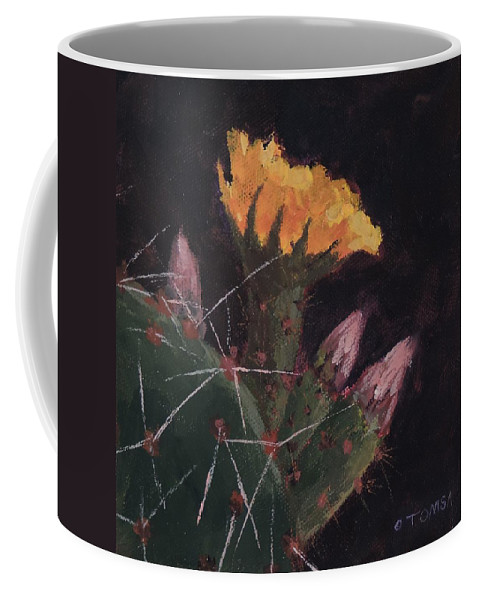 Art Coffee Mug featuring the painting Blossom And Needles - Art By Bill Tomsa by Bill Tomsa