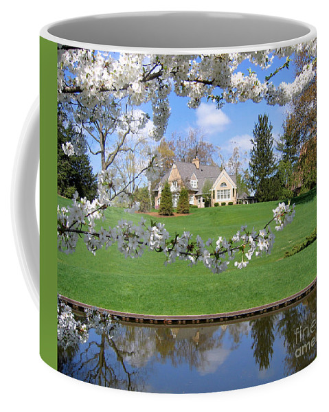 Spring Coffee Mug featuring the photograph Blossom-framed House by Ann Horn