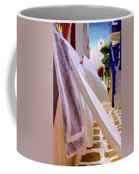 Mykonos Coffee Mug featuring the photograph Blowing In The Wind by Madeline Ellis