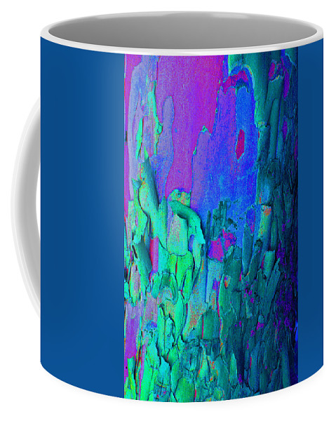 Abstract Coffee Mug featuring the photograph Blue Abstract Trunk by Karen Adams