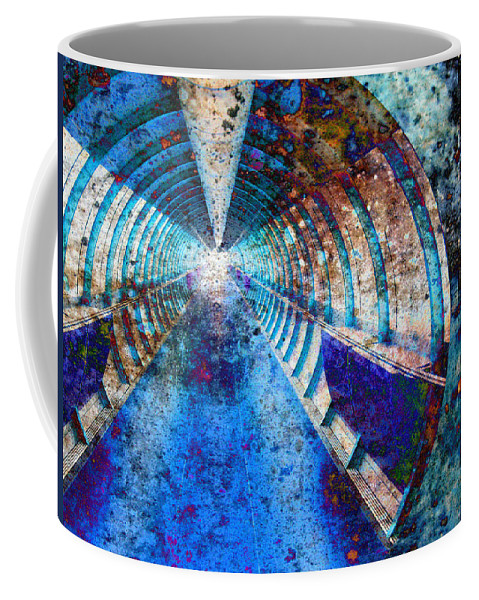 Grunge Grungy Tunnel Light Beam Train Locomotive Dirt Rust Coffee Mug featuring the painting Blue And Rust Grunge Tunnel by Elaine Plesser