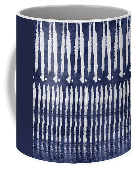 Blue Coffee Mug featuring the painting Blue and White Shibori Design by Linda Woods