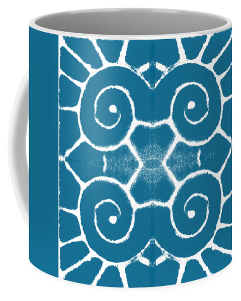 Wave Coffee Mug featuring the painting Blue and White Wave Tile- abstract art by Linda Woods