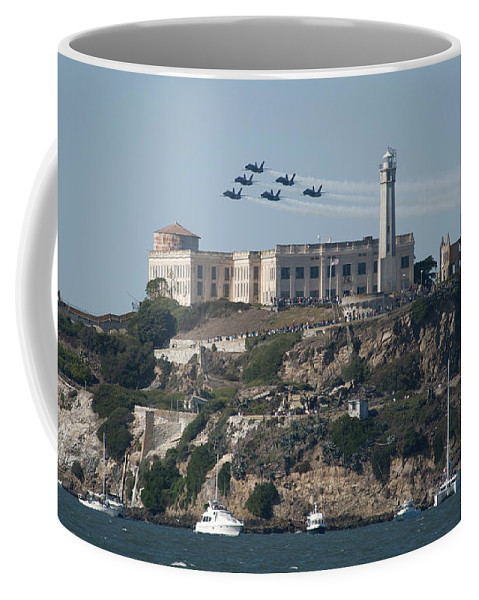 Navy Coffee Mug featuring the photograph Blue Angels Over Alcatraz by Mountain Dreams
