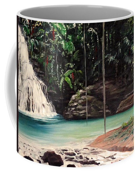 Tropical Waterfall Coffee Mug featuring the painting Blue Basin by Karin Dawn Kelshall- Best