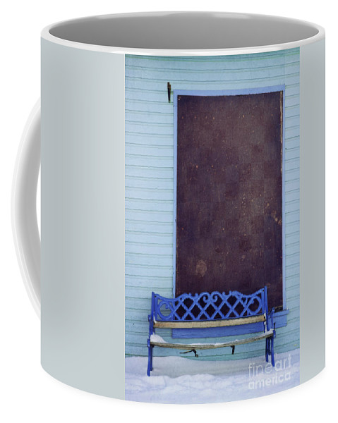 Bench Coffee Mug featuring the photograph Blue Bench by Priska Wettstein
