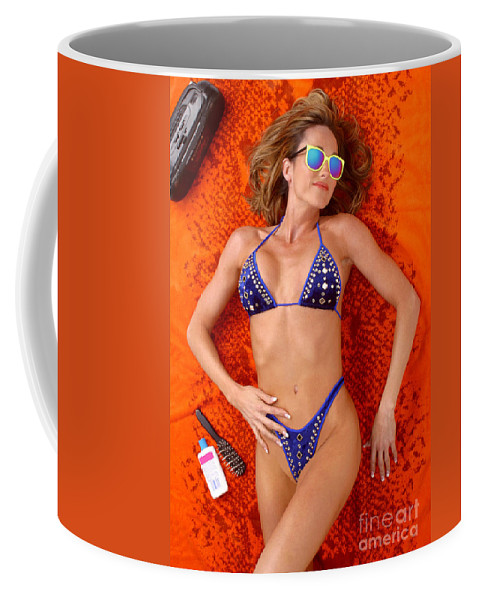 Model Coffee Mug featuring the photograph Blue Bikini 16-2p by Gary Gingrich Galleries