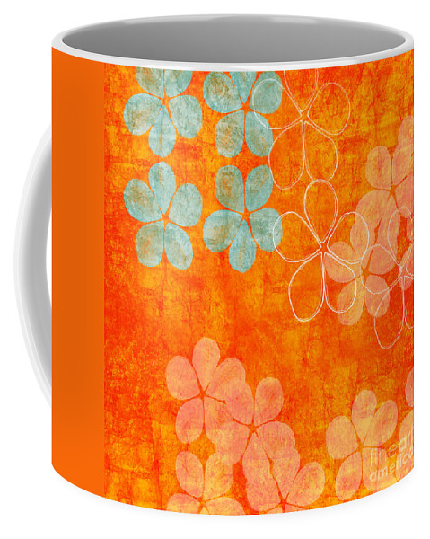 Abstract Coffee Mug featuring the painting Blue Blossom on Orange by Linda Woods