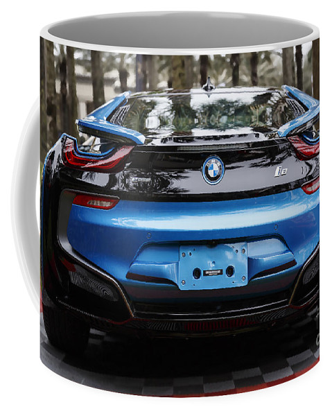 Bmw Coffee Mug featuring the photograph Blue Bmw I8 by Dennis Hedberg