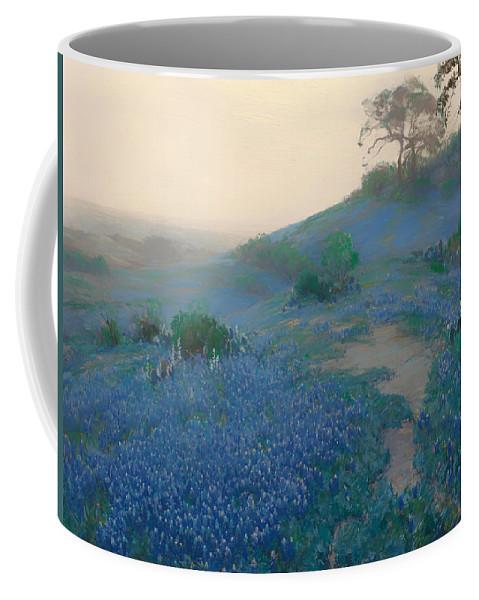 San Antonio Coffee Mug featuring the painting Blue Bonnet Field In San Antonio by Mountain Dreams