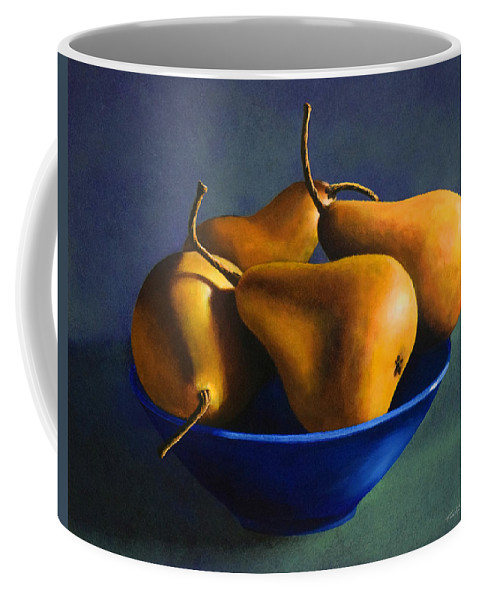 Still Life Coffee Mug featuring the painting Blue Bowl With Four Pears by Frank Wilson