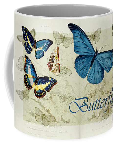 Butterfly Coffee Mug featuring the digital art Blue Butterfly - S01a by Variance Collections