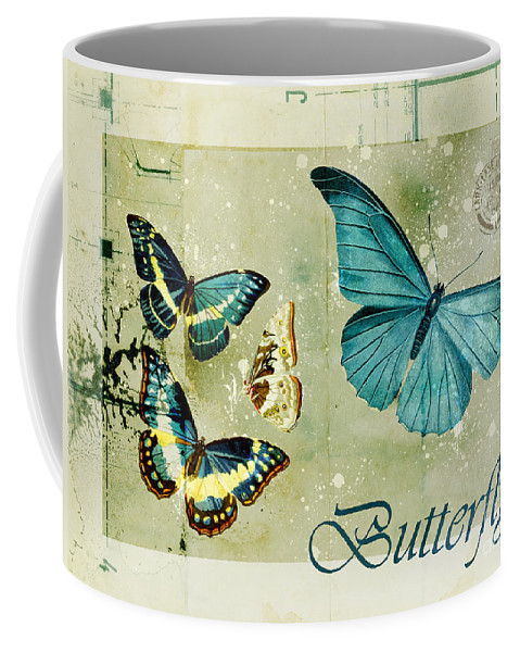 Butterfly Coffee Mug featuring the digital art Blue Butterfly - S55c01 by Variance Collections