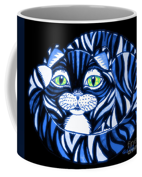 Cat Coffee Mug featuring the drawing Blue Cat Green Eyes by Nick Gustafson