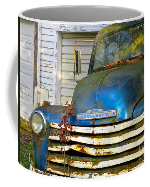 Blue Pick Up Truck Coffee Mug featuring the photograph Blue Chevy  by Nancy Patterson