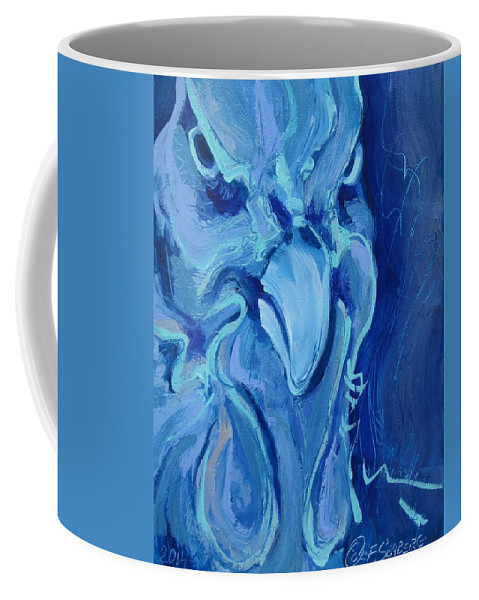 Chicken Coffee Mug featuring the painting Blue Chicken by Jeff Seaberg