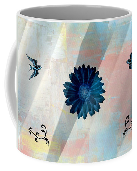 Abstract Coffee Mug featuring the photograph Blue Daisy by Kathy Barney