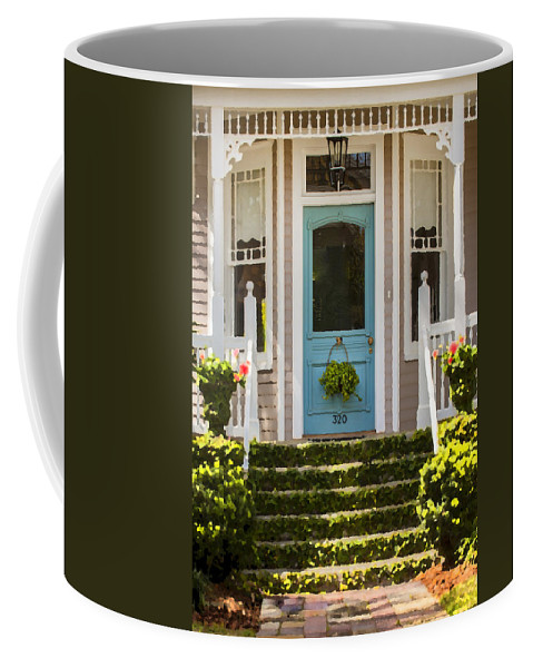 St. Augustine Coffee Mug featuring the photograph Blue Door Ivy Stairs by Rich Franco