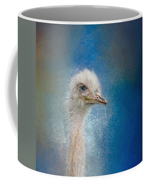 Albino Coffee Mug featuring the photograph Blue Eyed Beauty - White Ostrich - Wildlife by Jai Johnson