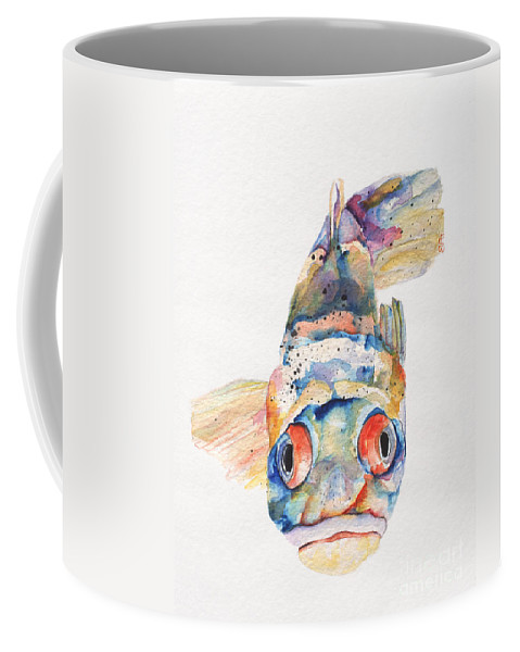 Pat Saunders-white Coffee Mug featuring the painting Blue Fish  by Pat Saunders-White