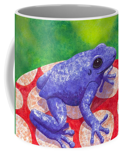 Frog Coffee Mug featuring the painting Blue Frog by Catherine G McElroy