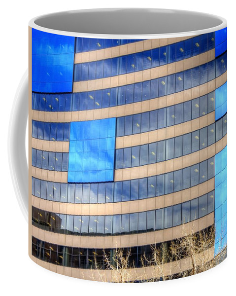 Blue Coffee Mug featuring the photograph Blue Glass Reflections 4993 by Jerry Sodorff