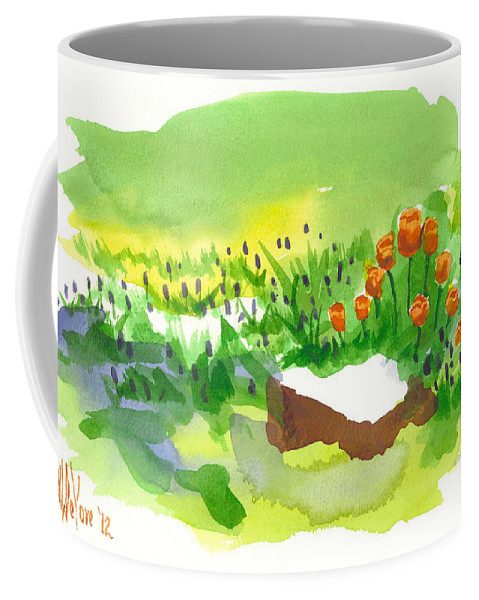 Blue Grape Hyacinths With Red Tulips And Tree Stump. Red Coffee Mug featuring the painting Blue Grape Hyacinths With Red Tulips And Tree Stump by Kip DeVore
