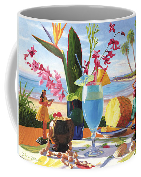 Blue Hawaiian Coffee Mug featuring the painting Blue Hawaiian by Steve Simon