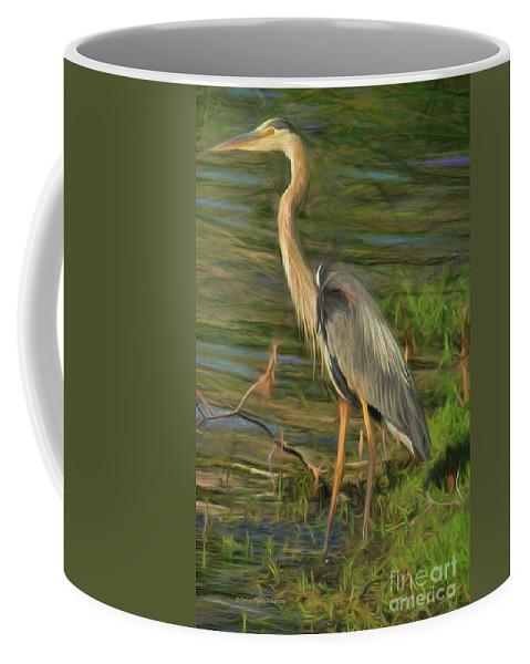 Heron Coffee Mug featuring the painting Blue Heron On The Bank by Deborah Benoit