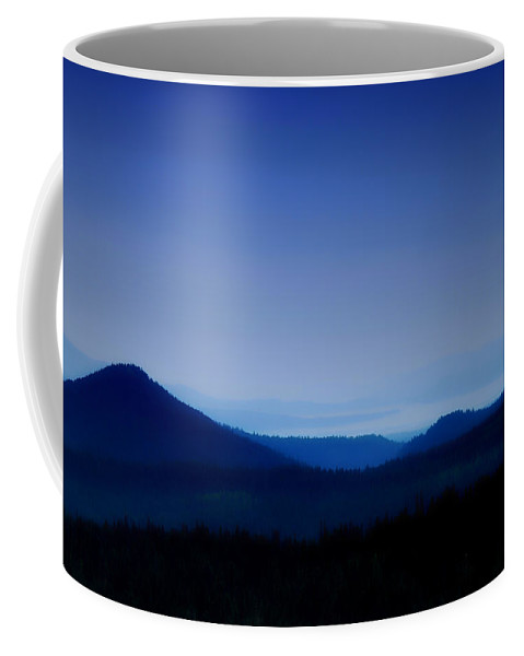 Mountains Coffee Mug featuring the photograph Blue Horizon by Donna Blackhall