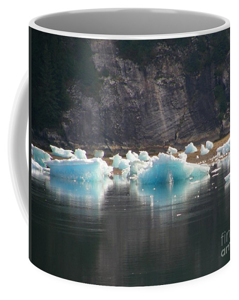 Blue Coffee Mug featuring the photograph Blue Ice Flows by Bev Conover