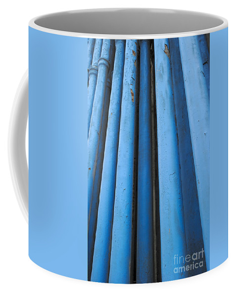Pipeline Coffee Mug featuring the photograph Blue Industrial Pipes by Grigorios Moraitis